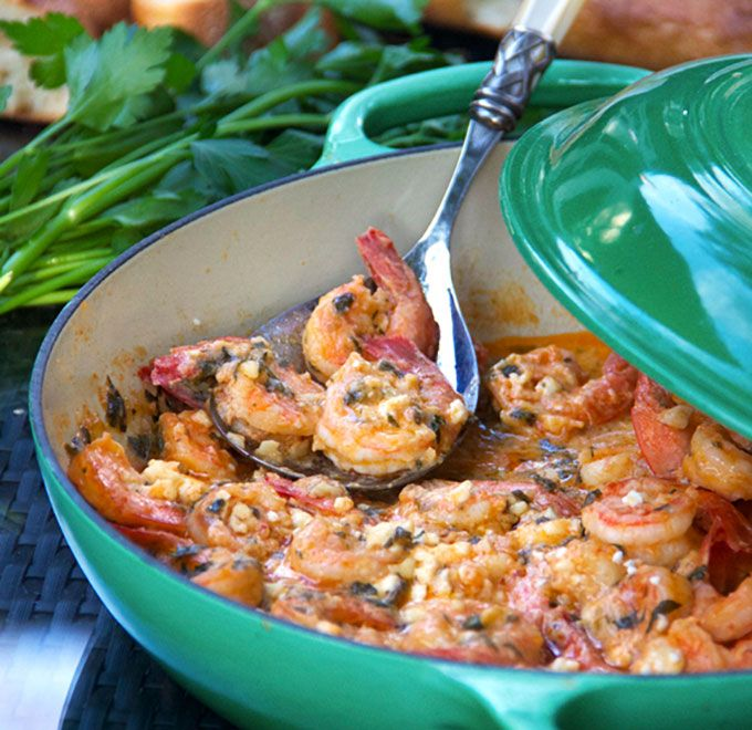 Greek-style Garlicky Shrimp with Feta | Recipe | Globes ...