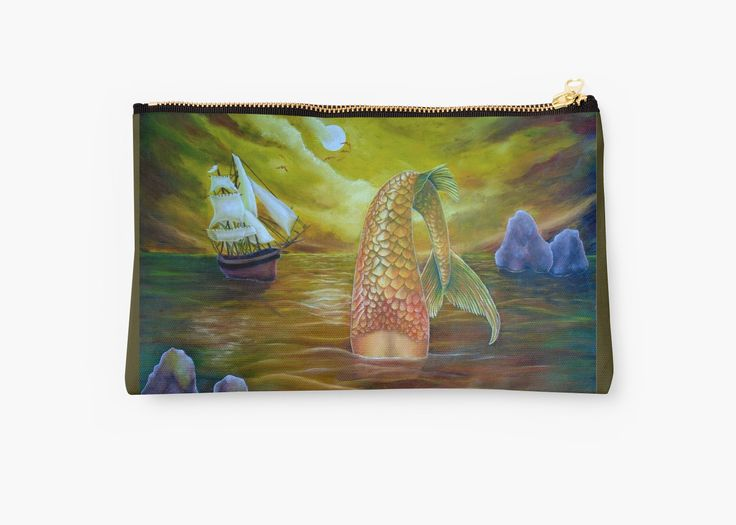 Studio Pouch,  mermaid,yellow,gold,cool,beautiful,unique,trendy,artistic,unusual,accessories,for sale,design,items,products,ideas,carry all pouch,redbubble
