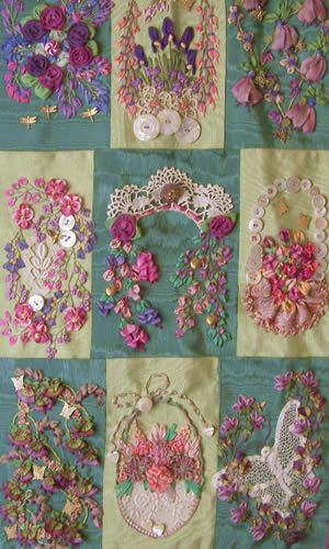Gorgeous 9 Patch Silk Ribbon Embroidery Sampler by Chisten Brow. Awesome.