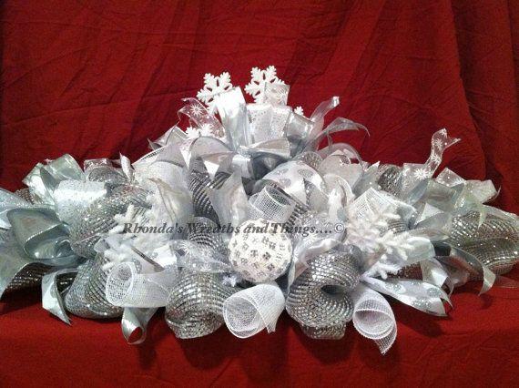 Silver and White Snowflake deco mesh centerpiece