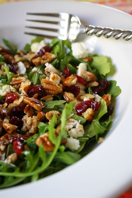 Arugula, Cranberry, Pecan, and Feta Salad--this looks delish! #food