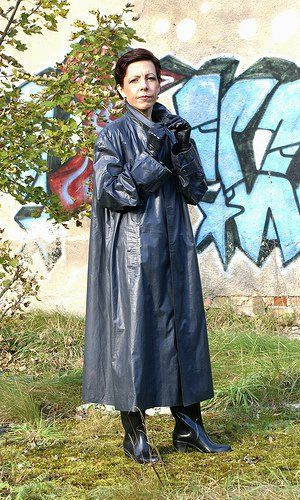 Grey Rubber Raincoat Kleppermantel, Klepper und Mode mantel