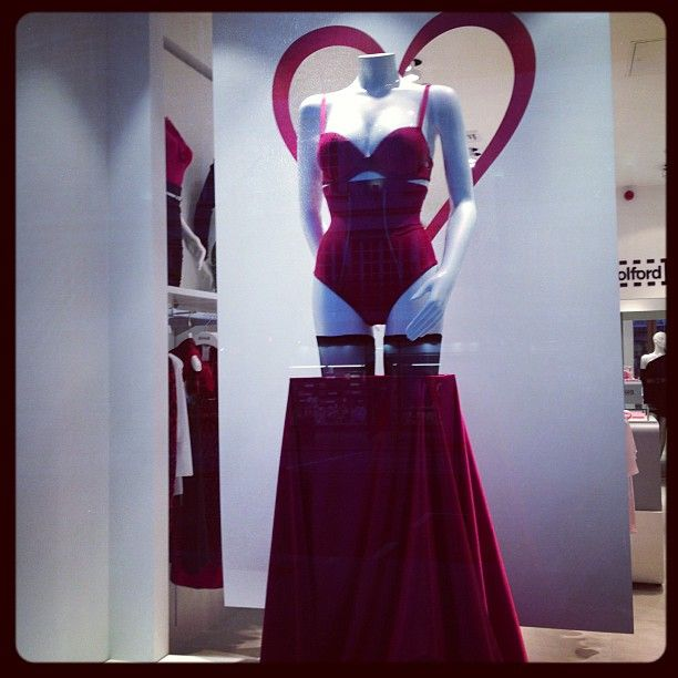 Wolford's Valentine's Day display.  Wolford operates in 68 countries with 260 stores