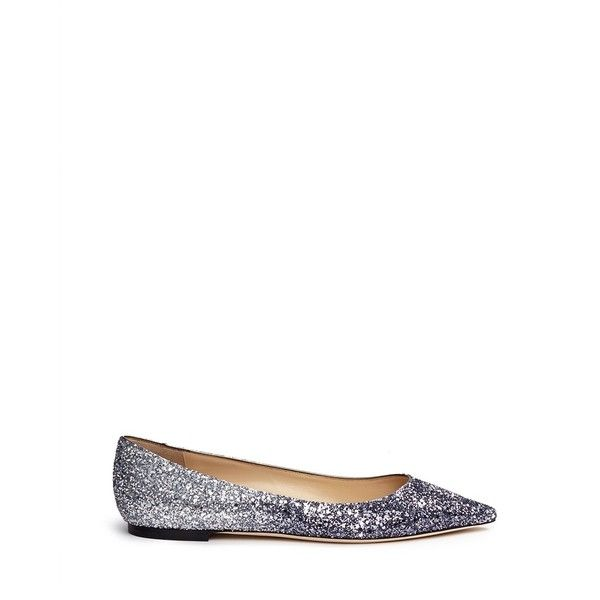 Jimmy Choo 'Romy' dégradé coarse glitter skimmer flats ($585) ❤ liked on Polyvore featuring shoes, flats, metallic, navy flat shoes, ballet flat shoes, navy blue flats, ballet shoes and ballet flats