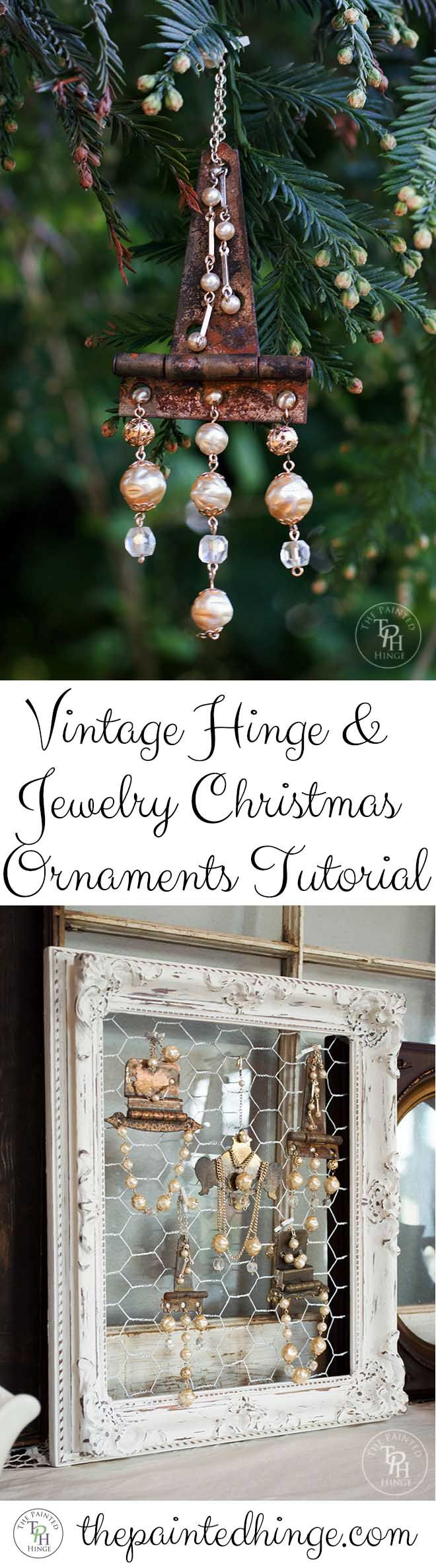Vintage Hinge & Jewelry Christmas Ornaments DIY Tutorial!