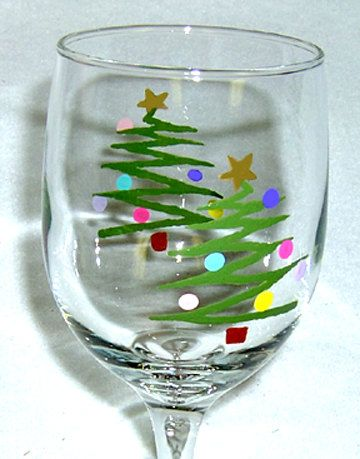 Christmas Tree Wine Glass Hand Painted    (The Price Listed Is For 1 Wine Glass)     This is a darling wine glass with a whimiscal Christmas
