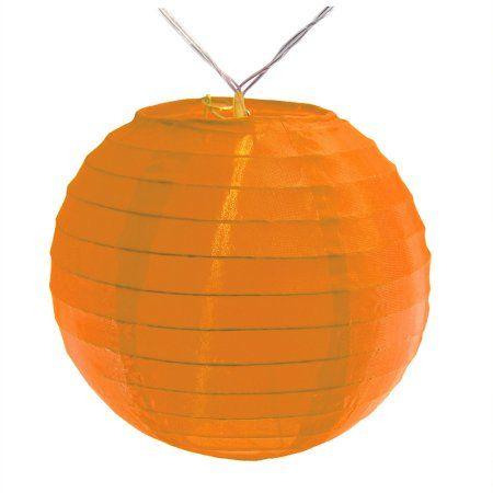 LumaBase Battery Operated String Light with 6 inch Nylon Lanterns, 10 Lanterns, Orange