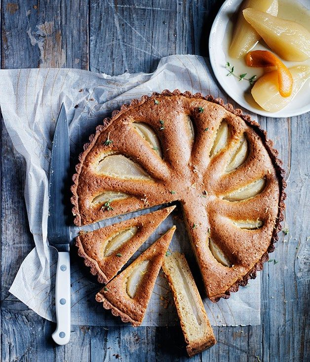 Pear, thyme and hazelnut tart recipe :: Gourmet Traveller
