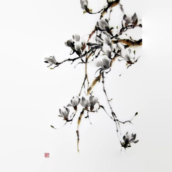 Japanese Ink Painting Asian art Sumi-e Suibokuga Flower and Birds painting Rice paper Large 18x27 inch Japanese magnolia - pinned by pin4etsy.com