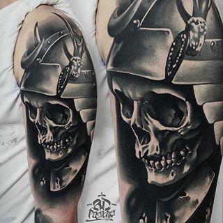Beautiful samurai#skull#tattoo by @ad_pancho --