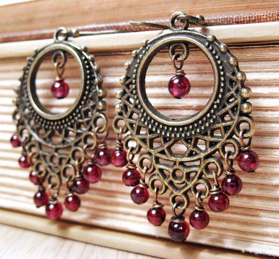 Bohemian Garnet Earrings Antiqued Brass Wine Red Boho Chandelier Earrings