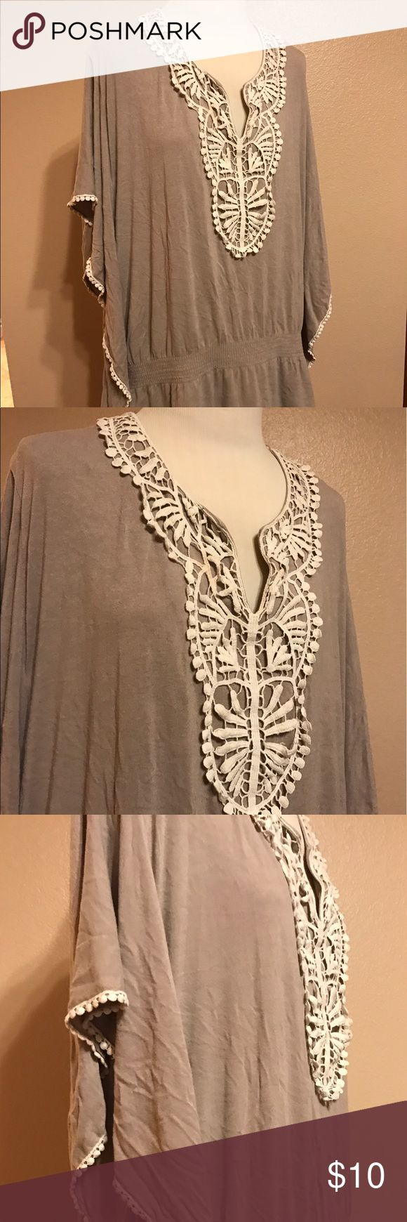 Woman's Crochet Trim Tunic Style & Co. plus Size, 2X Beige, Woman's crochet trim Tunic. Flowing and fun for the summer time. Poncho style, pull over with seams down the sides. Very soft and comfortable with a doleman/elastic waist Style & Co Tops Tunics