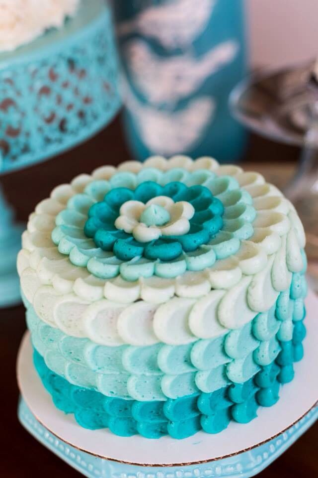 Trendy & delicious teal ombré petal cake from Vintage Cakes by Erica on Facebook- Temecula, CA. Perfect for bridal showers, baby showers, birthdays, Valentine's Day, or any other special occasion where a show stopper cake is desired! Photo © Mary Taylor Photography