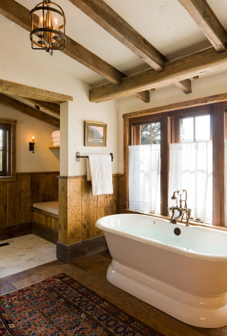Rustic master bathroom with log walls amp undermount sink zillow digs - Tub Great Point Lodge Rustic Bathroom Jackson By On Site Management Inc