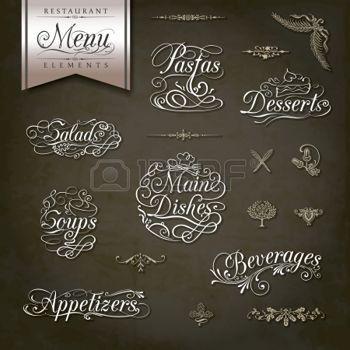 thee: Kalligrafische titels en symbolen voor restaurant menu en design Stock Illustratie
