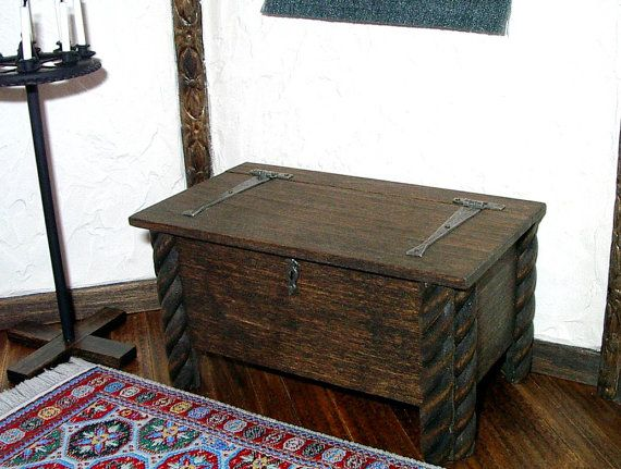 Medieval Chest with Strap Hinges Dollhouse by CalicoJewels on Etsy, $64.00