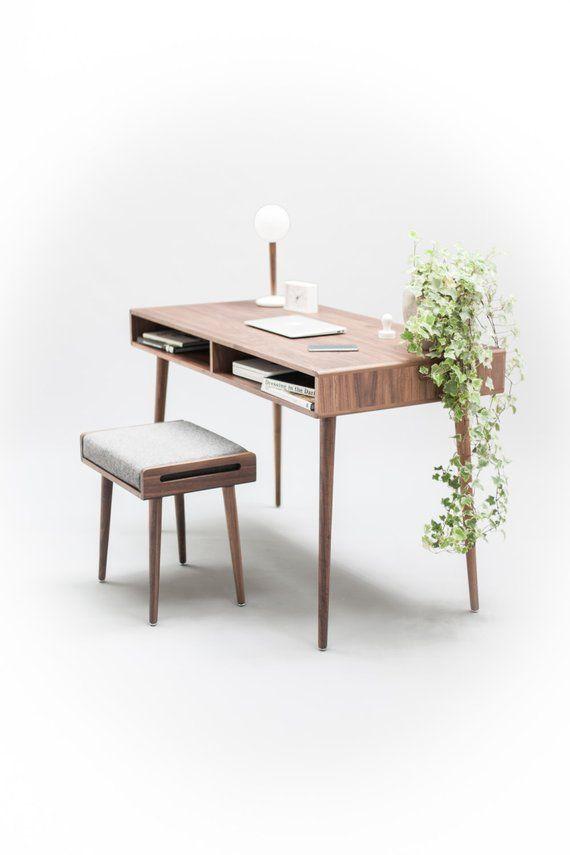Moderner Walnuss Schreibtisch Mit Open Cubbies Mid Century Design
