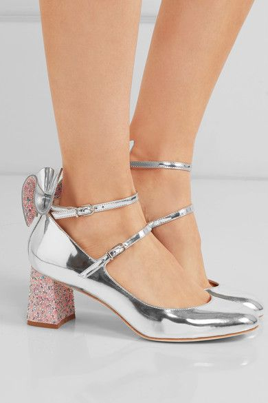 Heel measures approximately 60mm/ 2.5 inches Silver mirrored-leather Buckle-fastening straps