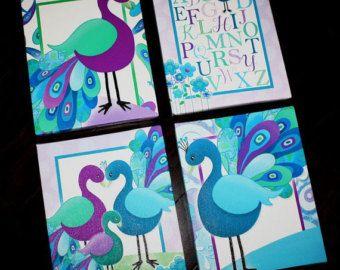 Ensemble de 4 chambres à coucher paon Turquoise et violet tendue toiles enfants salle de Jeux bébé crèche toile chambre mur Art 4CS019