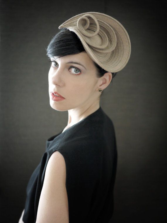 Scultorea Tan feltro Fascinator Fall Fashion serie di pookaqueen