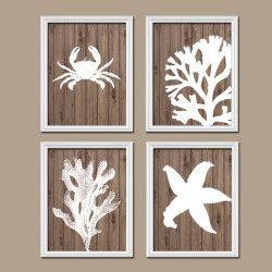 Bathroom Wall Art Artwork Nautical Coral Reef Ocean Sea Wood Grain Crab  Lobster Starfish Set Of