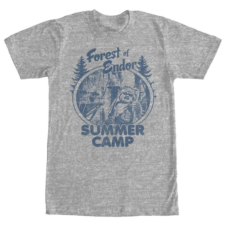 Forest Camp - This summer, join your pals Wicket, C-3PO, and Princess Leia with the Star Wars Forest of Endor Summer Camp Heather Gray T-Shirt! A distressed navy blue print on the front of this funny Star Wars shirt reads Forest of Endor Summer Camp next to the fa