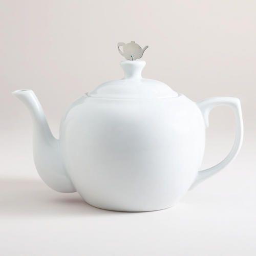 Lovely White Ceramic President Teapot
