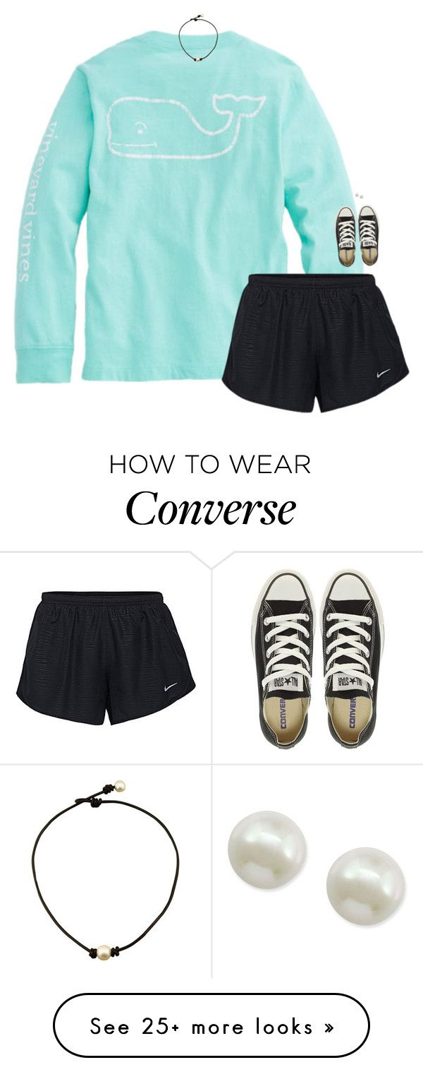 """""""Sitting on the back porch humming all the lyrics to my favorite southern songs."""" by classynsouthern on Polyvore featuring NIKE, Converse and Majorica"""