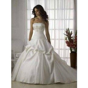 Size 6 - 20 Ball Gown Strapless Chapel Train Satin Organza Bridal Wedding Dress