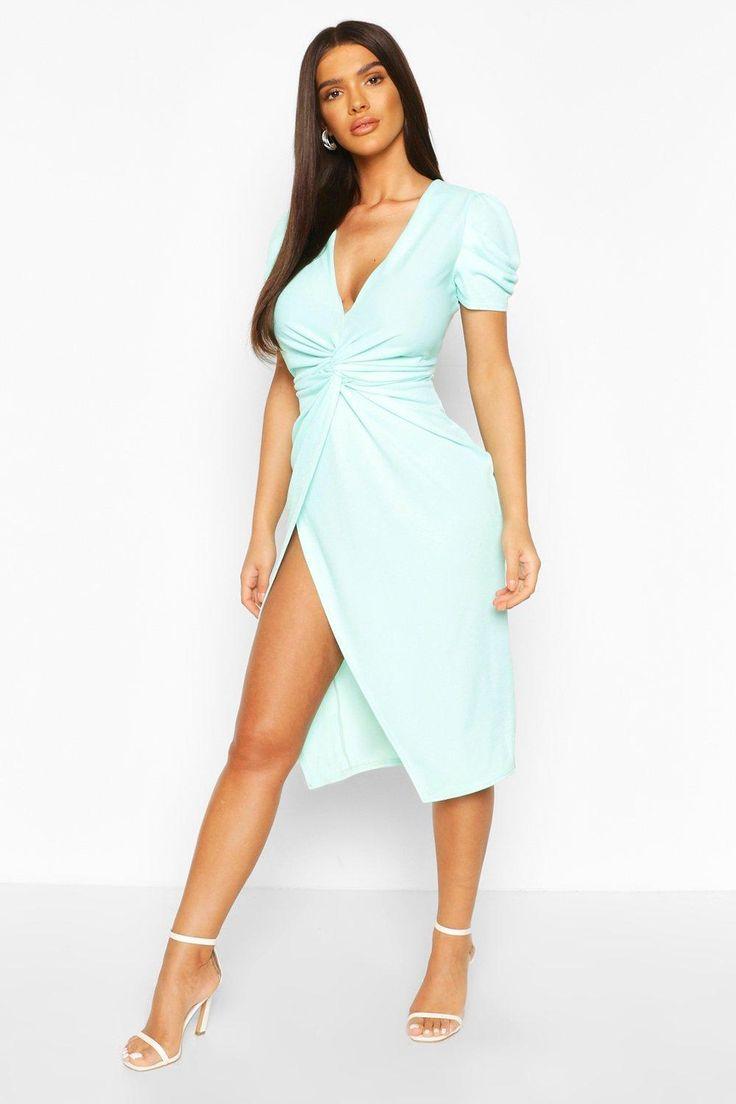 Boohoo bodycon midi dress with puff sleeves in light green