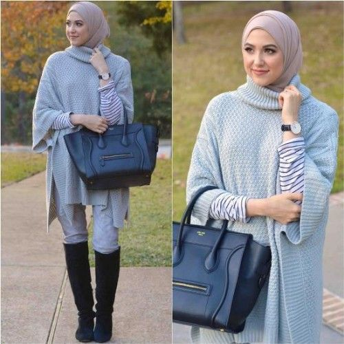 blue poncho winter hijab, Winter hijab street styles by leena Asaad http://www.justtrendygirls.com/winter-hijab-street-styles-by-leena-asaad/