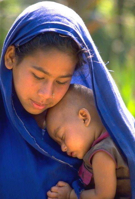 Bangladesh: Madonna with the child.