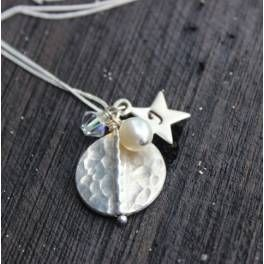 Florizel Silver Disc and Star Charm  Necklace