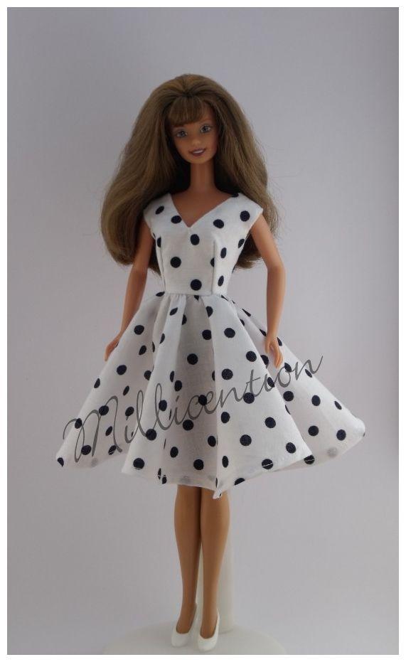 Black and white polka dot Barbie doll dress
