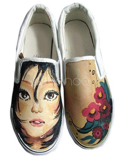 Zapatos rojos de lona con dibujo pintado a mano de estilo informal - Milanoo.com