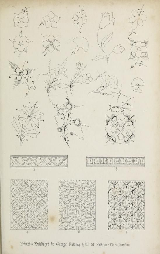 """Sketches for flourishes and patterns. . From the book """"Guide to the art of illuminating and missal painting (1862)."""""""