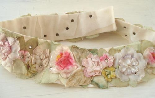 Antique sash made from millinery flowers and leaves