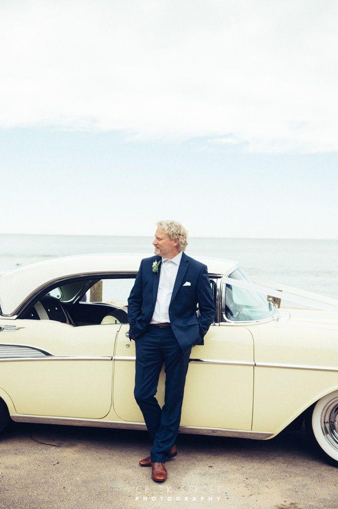 Damian at Whale  Beach Vintage car