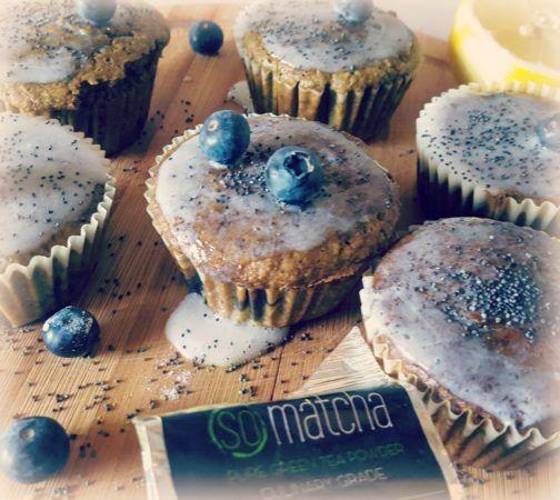 Matcha Lemon and Blueberry Muffins
