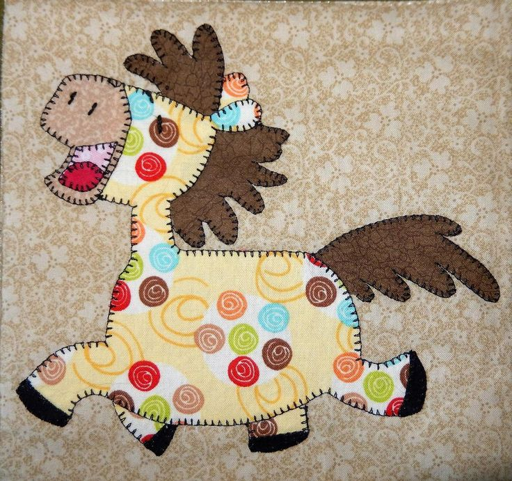 (7) Name: 'Quilting : Horse Applique Block