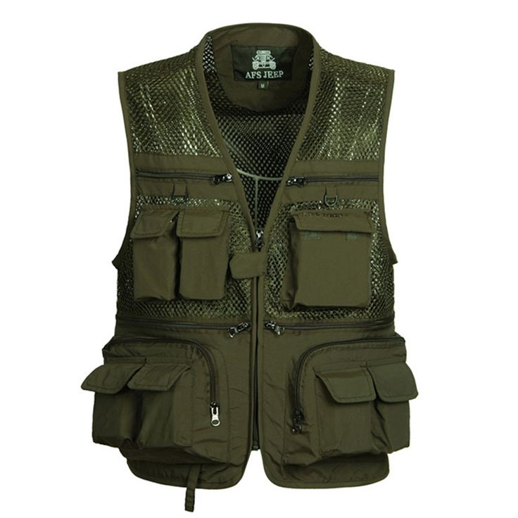 2017 Summer Mesh Vests for Shooting Photographer Vest Men with Many Pockets Director Military Style Sleeveless Jackets solid 4XL