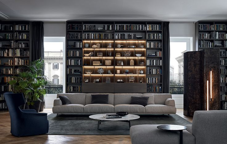 Wall System by Poliform Spa. Available at MOOD showroom, Warsaw. #mood #poliform #livingroom #bookcase #sectional #largesofa