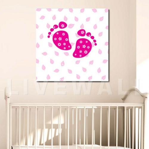 παιδικος καμβάς πατουσακια-pink