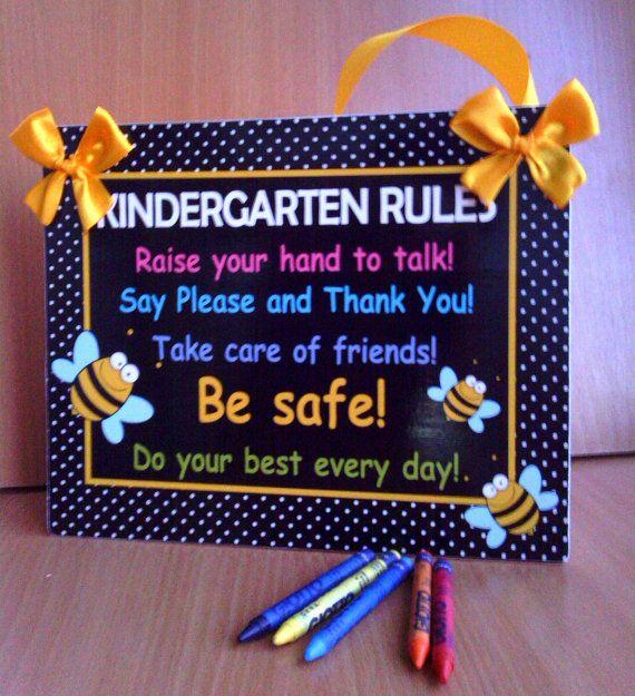 kindergarten rules bee themed teacher classroom decor by kasefazem, $15.99