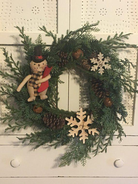 Wreath Christmas Wreath Snowman Wreath Winter Wreath Primitive Snowman Snowman Doll Primitive Wreath Christmas Wreaths Winter Wreath Large Wreath