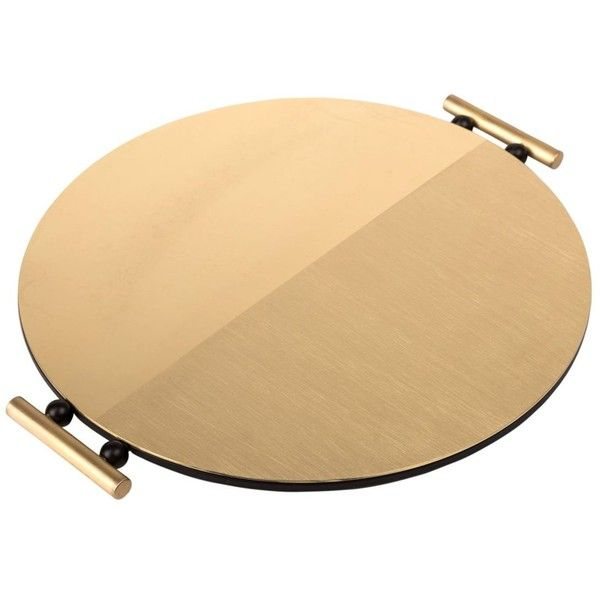 Mingardo Home Round Brass Tray (€485) ❤ liked on Polyvore featuring home, kitchen & dining, serveware, gold, round tray, brass tray, round brass tray and circular tray