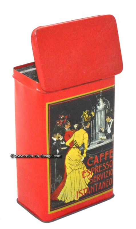 Tin caffe espresso servizio istantaneo Red coffee tin for instant espresso coffee. This tin has on the front- and back side a nostalgic print made by V. Ceccanti, from around 1900. This tin has a hinged lid.  http://www.retro-en-design.co.uk/a-47995737/tins/tin-caffe-espresso-servizio-istantaneo/