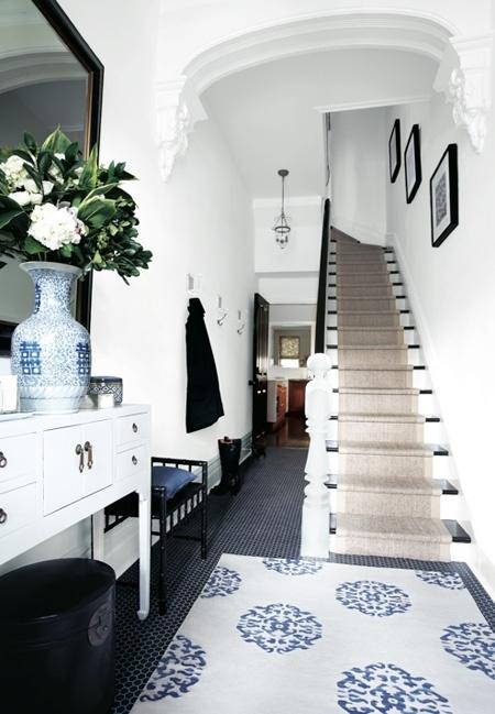 Madeline Weinrib Beige & Blue Mandala Carpet- Image via House & Home