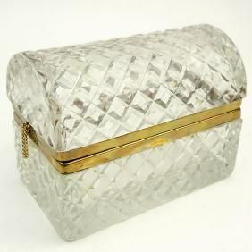 Vintage Crystal And Brass Vanity Box. Unsigned.