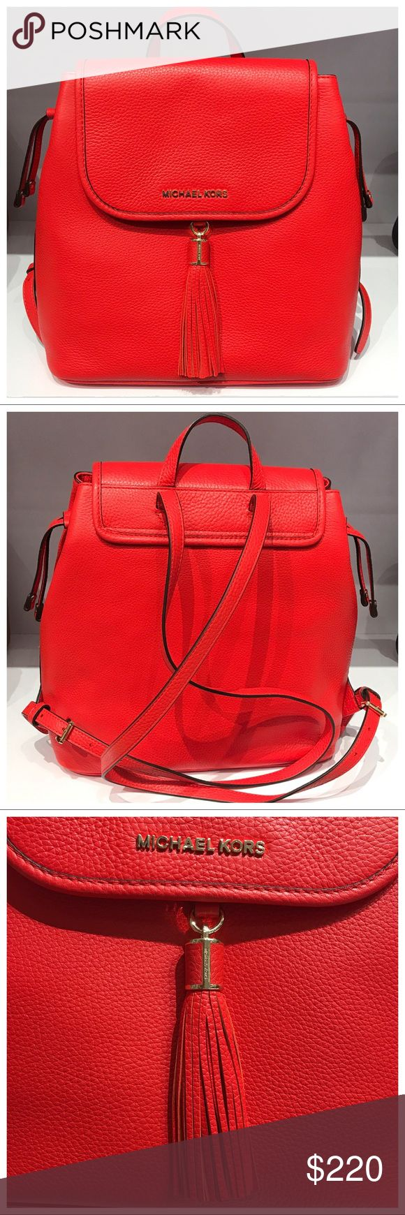 """NWT MK Bedford Drawstring Backpack 100% Authentic & Brand new with tag!  MICHAEL Michael Kors - Toss on and head out the door in this laid back yet luxe Bedford Drawstring backpack handbag, it redefines big-city accessorizing.  Style # 35S7GMAB7L Color: Sienna MSRP: 428 Measurements: Approx. 12"""" H x 12.5"""" L x 5.75"""" D   Product Features:  Made of genuine soft pebbled leather Adjustable leather shoulder/backpack straps approx. 10""""-15"""" drop Top tab leather handle approx 3"""" drop Magnetic snaps…"""